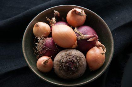 Bunte Zwiebel und eine rote Rübe