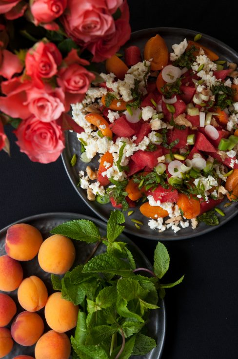 Melonen-Marillen-Feta-Salat