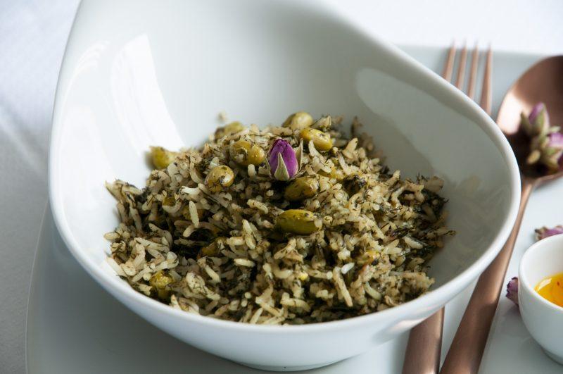 Der Persische Reis mit Dille und Bohnen